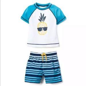 Gymboree Baby Swimwear Rash-guard Trunks Set Boy